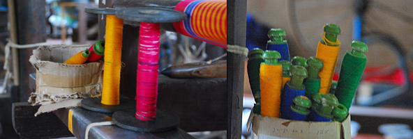 At the handloom house: Loved those colours!