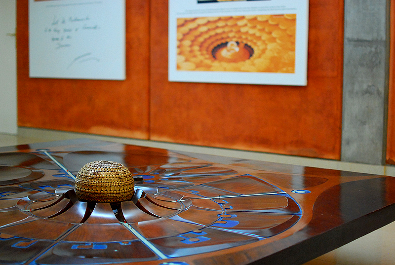 From the Auroville lobby - The model of Matrimandir